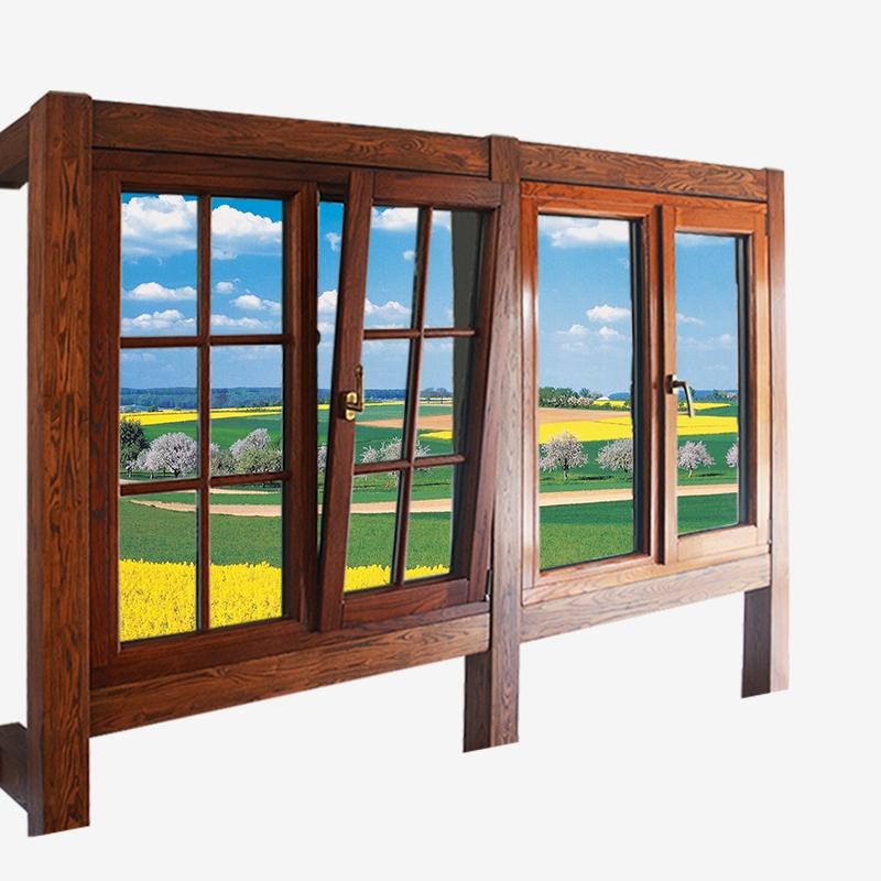 铝木复合外平开防坠落窗